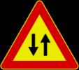 Cartello stradale doppio senso di circolazione