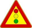 Cartello stradale indicatore di semaforo
