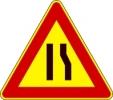 Cartello stradale strettoia asimmetrica a destra